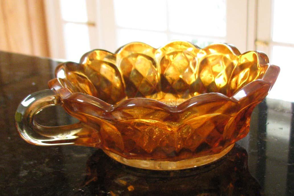Imperial Heavy Grape Marigold Carnival Glass Single Handle Nappy Circa