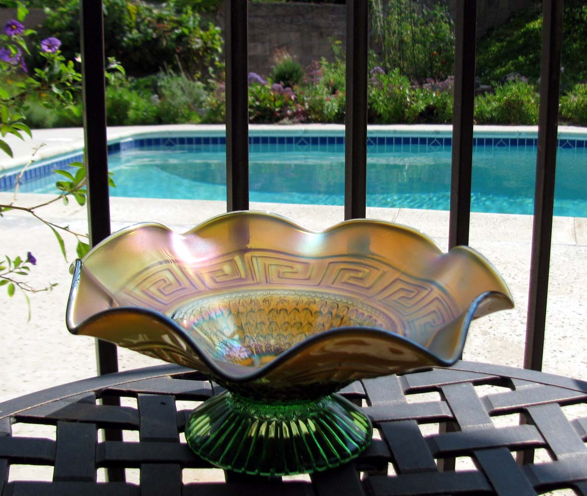 Northwood Greek Key and Scales Green with Marigold Overlay Carnival Glass Bowl