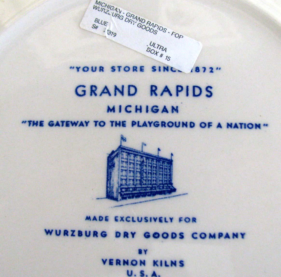 grand rapids michigan blue 1940s vernon kilns collector 39 s plate ebay. Black Bedroom Furniture Sets. Home Design Ideas