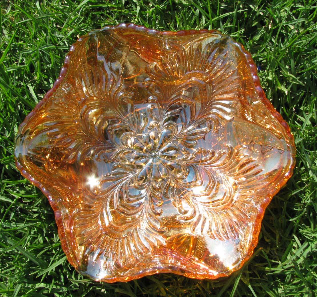 Brockwitz Germany Curved Star Headress Marigold Carnival Glass Bowl