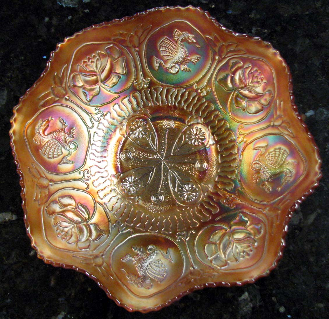 and Lotus Marigold Carnival Glass Ruffled Bowl Circa 1915