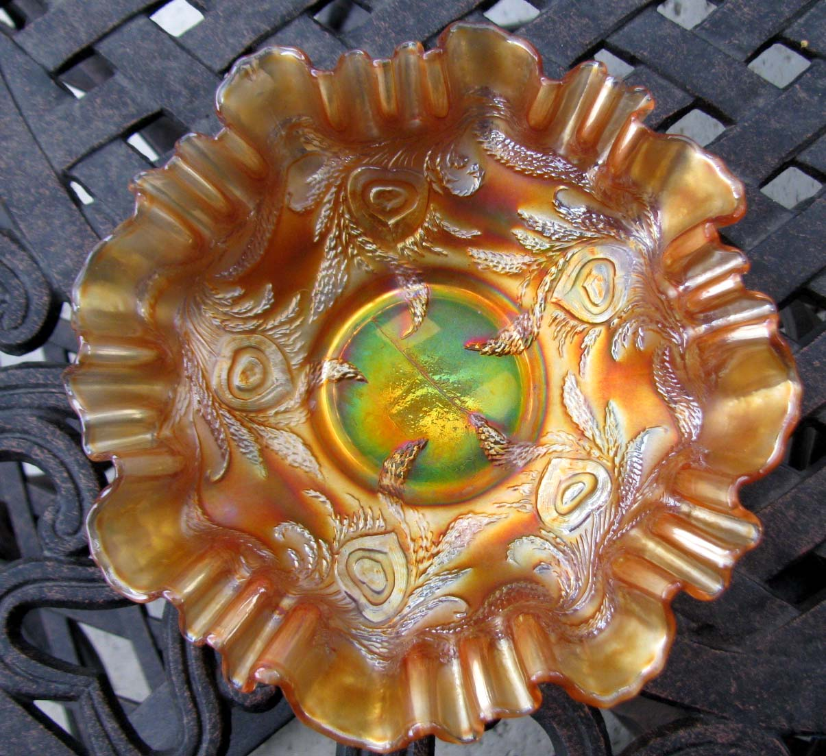 Fenton Heart and Vine Marigold 3 in 1 Edge Carnival Glass Bowl Circa