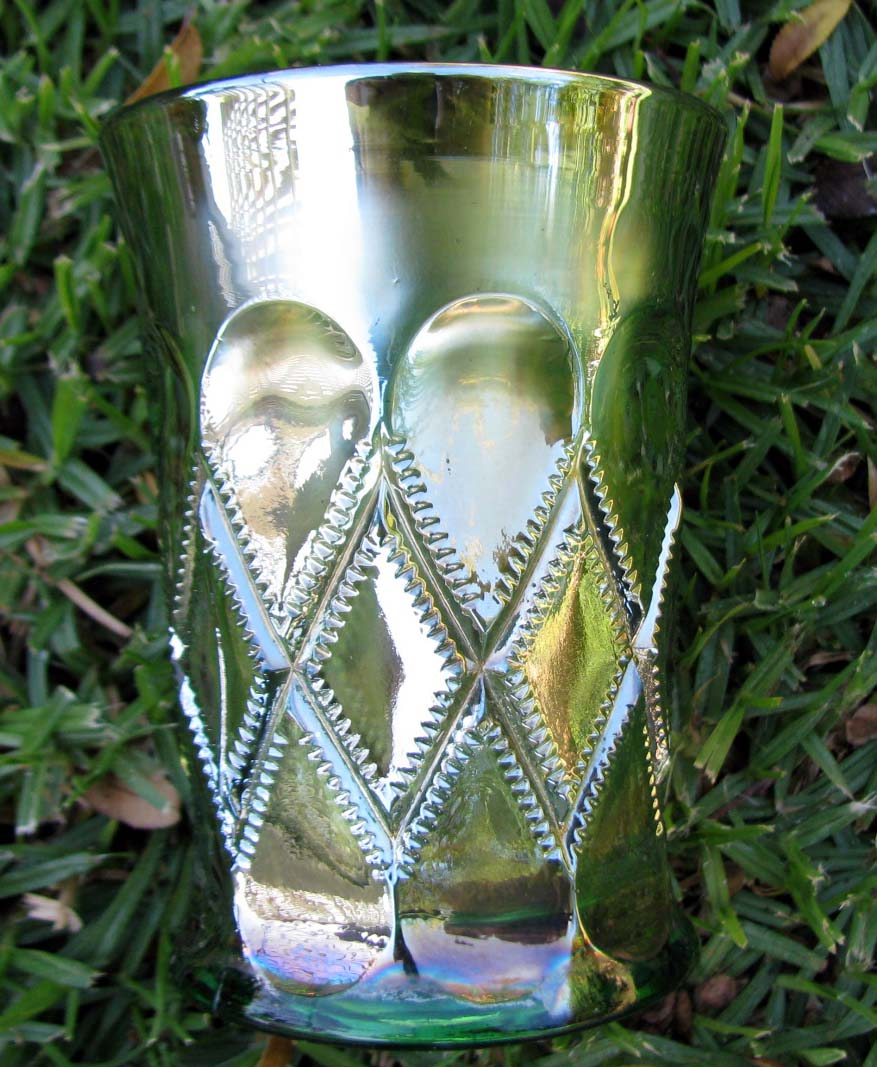 Millersburg Diamonds Green Carnival Glass Tumbler Circa 1910s