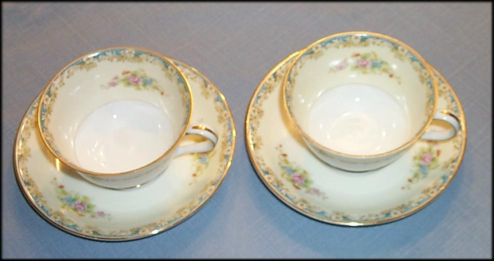 Noritake Rose China Made In Occupied Japan 2 Cups And Saucers
